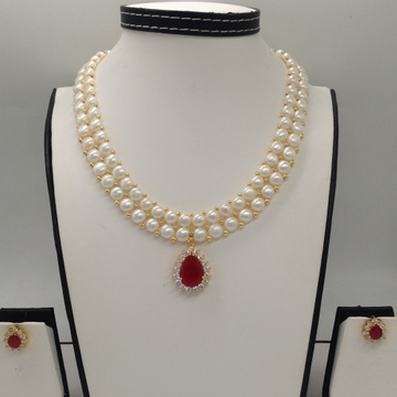 White AndRedCZ PendentSet With 2Line ButtonJali Pearls Mala JPS0259