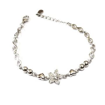 925 Sterling Silver Flower Shape Bracelet MGA - BRS0414