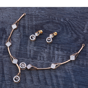 18Ct CZ Stylish Diamond  Rose Gold Necklace Set RN174