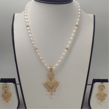 White CZ Pendent Set With OvalPearls Mala JPS0002