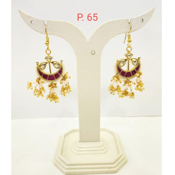 Gold plated Moon Shape ruby stone earring with haging moti 1679