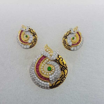 916 Ladies Yellow Gold Pave Antique Pendant set