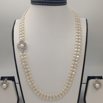 White CZ And Pearls BroachSet With 2Line ButtonJali Pearls Mala JPS0232