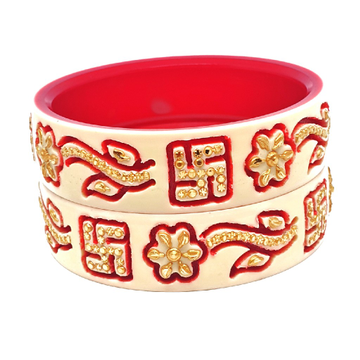 22k gold swastik flower shaped chudla bangles mga - cdg0033