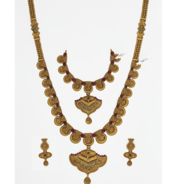 916 Gold Long Bridal Necklace Set SJ-4569 by
