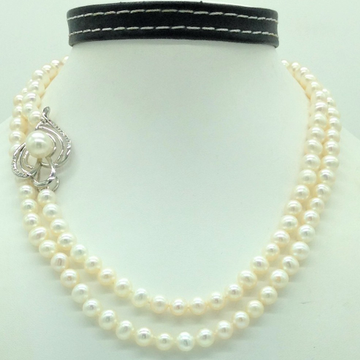 Freshwater White PotatoPearls Long Knotted Broach...