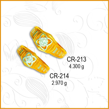916 gold Floral Design CZ Couple Ring CR-213
