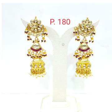 Gold plated with kundan and ruby work earrings 1564
