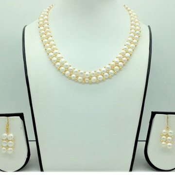 Freshwater WhiteButton Pearls 2 Lines Necklace Se...