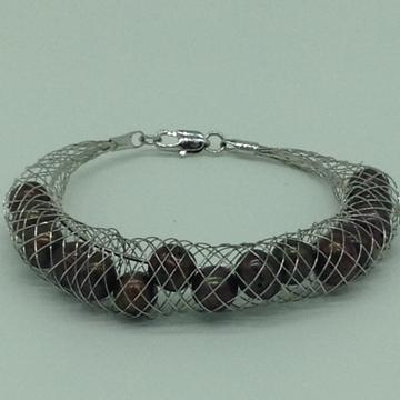 Brownroundpearls wire meshbraceletjbg0156