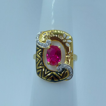 22k/916 cz rodium plated and fancy ladies ring by Shree Sumangal Jewellers