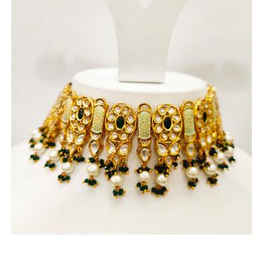 Green pearl beaded mini gold plated kundan choker with antique butti set 1471