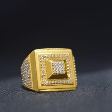 22Kt Gold CZ Square Shape Ring For Men MK-R23 by