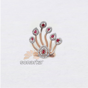 18k Peacock Design Pink CZ Rose Gold Ring SK - R003