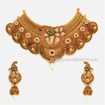 916 Antique Gold Designer Bridal Choker Necklace set