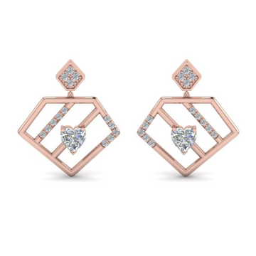 designer pentagon rose gold earring by