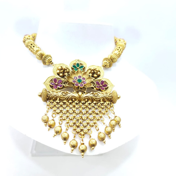 Antique Gold plated Flower Design & Hanging Bead Necklace set 1412