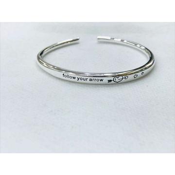999 Sterling Silver Follow Your Arrow Writting 999 Pure Silver Fine Kada Bracelet Ms-2815