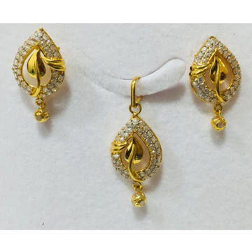 916 gold cz attractive pendant set nj-p014