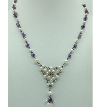 Freshwater White Pearls and Amethyst Silver Chain ...