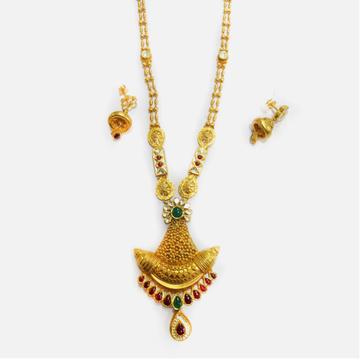 22KT Gold Antique Long Necklace Set RHJ-3817