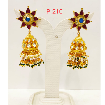 Ruby Gold tone kundan work Jhumka earring with Hanging moti 1720