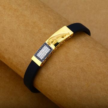 Mens 22K Gold Leather Bracelet-MLB25