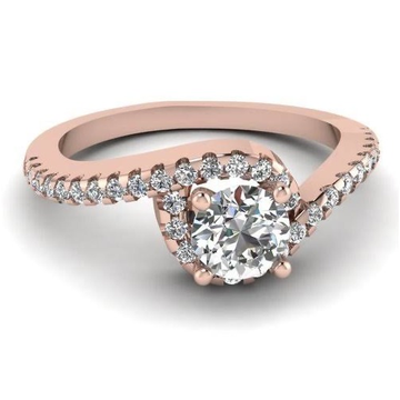 18 kt, rose gold and diamond curve miracle ring for women
