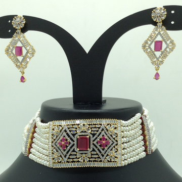 White and Red CZ Choker Set With 8 Line Flat Pearl...