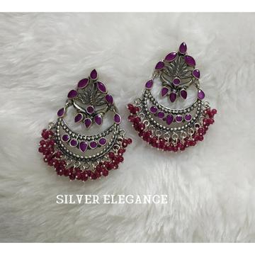 Silver colorful oxidized earring se-e008