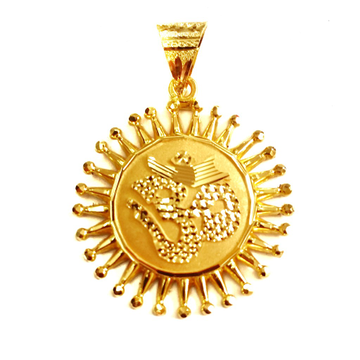 916 Gold Omkar Round Shaped Pendant MGA - GP012