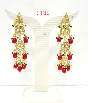 Hanging red stone with kundan work long earrings 1574