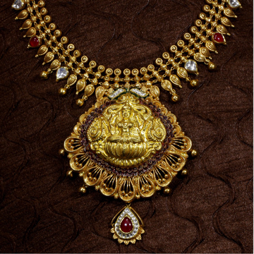 22k Gold Studded Necklace Set Temple Jewellery Style