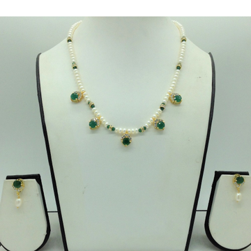 White,Green Cz 7 PcsSet With 1Line FlatPearls M...