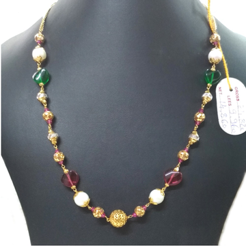 22KT Gold Fancy Colored Stone Mala Chain