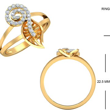 22KT Yellow Gold Floral Classic Ring for Women