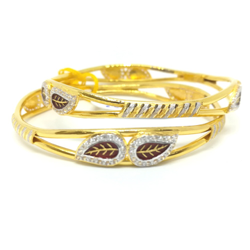 916 gold  2 piece leaf design bangle