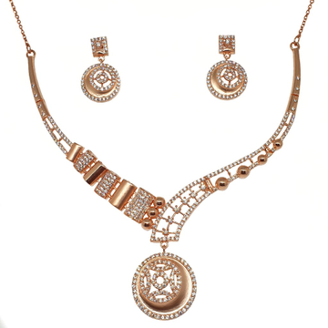 925 Rose Silver Round Shaped Modern Necklace Set M...