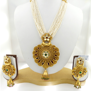 916 Gold Antique Bridal Necklace Set RHJ-3393