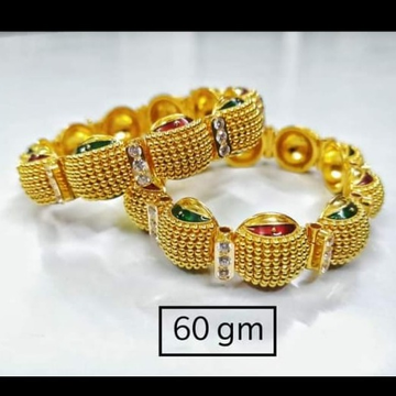 916 Gold Antiq Bangles Latest Designe by