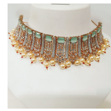 Traditional beautiful chokar jewelry with pearls combination necklace set 1227