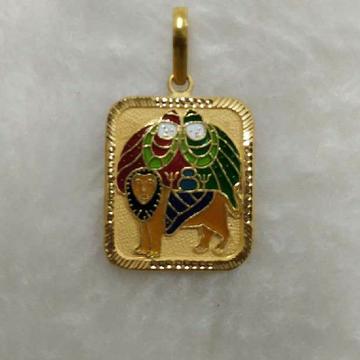 916 Gold Chamunda Maa Minakari Pendant