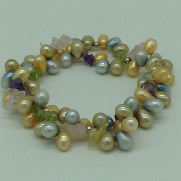 Golden And Blue Drop Pearls With Semi Beeds 2 Laye...