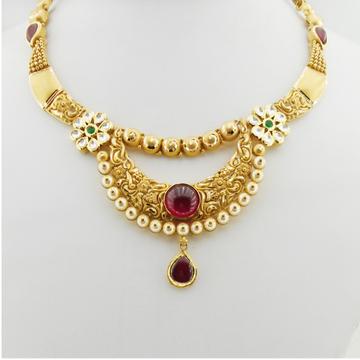 22K Gold Antique Bridal Necklace Set RHJ-3281