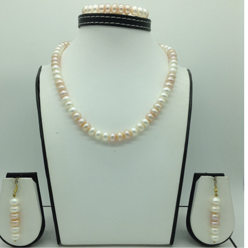 Freshwater Pink and White Flat Pearls Necklace Set JPP1070