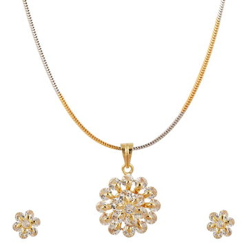 22 karat, 916 Hall-marked, yellow gold and silver plated chain, pendant and earrings flower design set for women JKP001