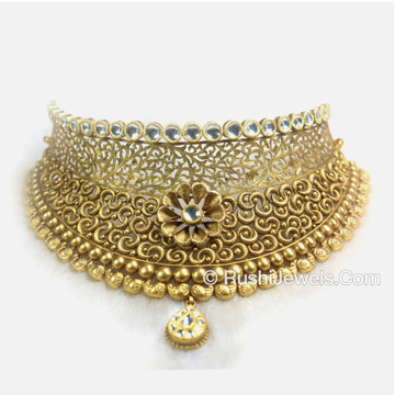 Bridal Gold Antique Choker Necklace Designs