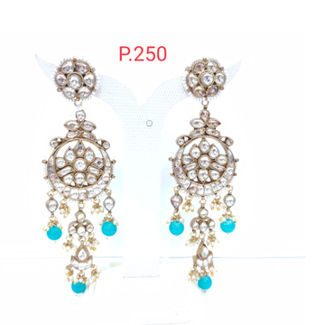 Kundan work with hanging sky blue color stone antique earrings 1561