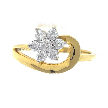 18kt / 750 yellow gold flower diamond ladies ring 9lr29