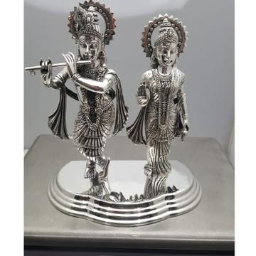 925 Pure Silver Radha Krishna Idol In Antique Fini...
